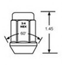 1904 1/2 Bulge Lug Nut 3/4 Hex Qty:1