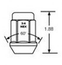 1907L 12mm x 1.50 Bulge Nut Long 3/4 Hex Qty:1