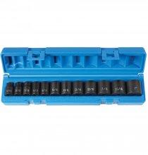 1202 3/8in. Drive Standard Length Impact Socket Set - 12 Piece - In Molded Case